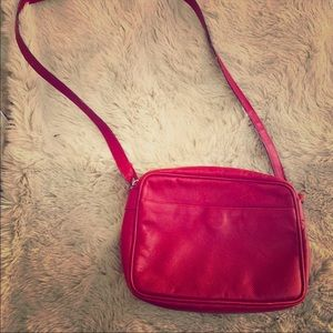 Authentic Bottega Veneta Red Leather Crossbody Bag